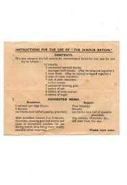 original hour ration instruction and contents leaflet