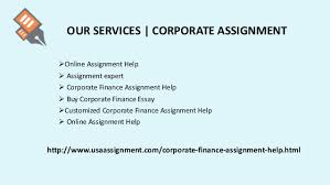 corporate finance assignment help by expert solution