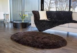 long wool oval sheepskin area rug dark brown