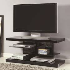 Small Modern TV Stand with Open Glass Shelves in Black