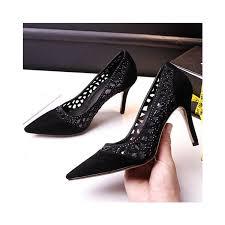 leila black 3 inch heels hollow out sti heel pumps image 1