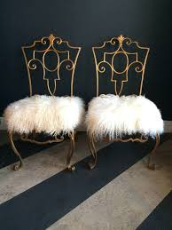 mongolian fur chair brilliant pair of jean charles moreux wrought iron chairs with intended for 23