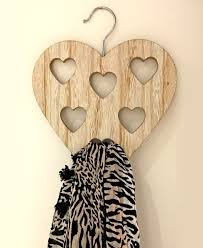 heart wooden scarf hanger