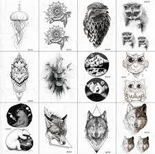 3285 руб черные поддельные мужские геометрические временные татуировки льва боди