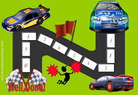 Behavior Chart With 10 Steps And 3 Racing Cars Racing To The