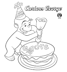 Coloring Pages Birthday Curious George Birthday Curious George