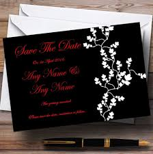 Red Save The Date Cards Black White Red Customised Wedding Save The Date Cards