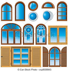 window drawing. collection of windows - vector illustration differentwindow drawing