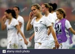 New Zealand's Priscilla Duncan (18) reacts after losing to China during  their Group D soccer match at the 2007 FIFA Women's World Cup in Tianjin  September 20, 2007. REUTERS/Jason Lee (CHINA Stock Photo - Alamy