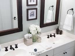sherwin williams sea salt in bathroom with white countertop dark wood mirror kylie m