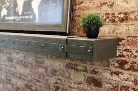 metal shelf with decorative banding
