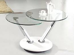 clear rotating glass coffee table with white base triplo round swivel