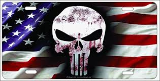 American Flag Website Background Covers The Punisher Skull On American Flag Background