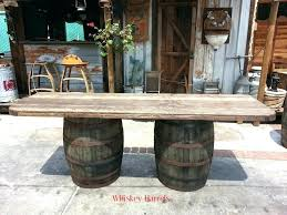 whiskey barrel table wooden top diy bar
