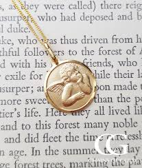 9ct yellow gold round angel medal pendant