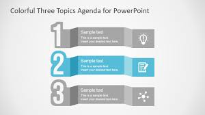 For Powerpoint Free Colorful Three Topics Agenda For Powerpoint