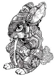 Free Coloring Page Coloring Adult Difficult Rabbit 2 Drawing Of A