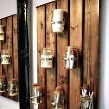 wooden pallet wall decor with wood beams and hurricane jars wooden pallet wall decor