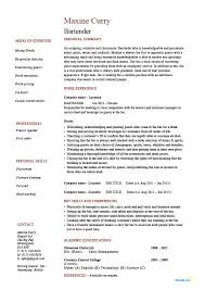 Bartender Resume Templates Best of Bartending Resume Template Example Experience Sample Job