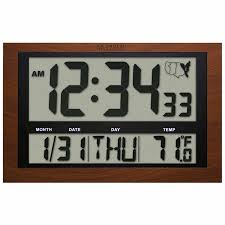 atomic digital wall clock with 4 numbers indoor temperature