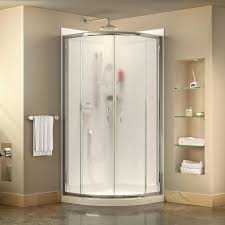 DreamLine Prime White Wall Acrylic Floor Round 3-Piece Corner Shower Kit  (Actual: