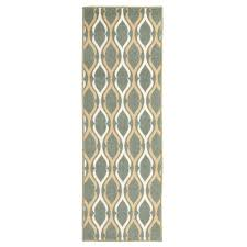 anne collection moroccan trellis design teal and ivory 2 ft x 5 ft non