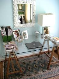 trestle office desk. Rustic Home Office Desk A Combo Of Stained Wooden Trestle Legs And Glass Tabletop Can R