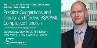 """Promontory on Twitter: """"Promontory Managing Director Dustin Palmer to  discuss best practices for building an effective #BSAAML #compliance  function tomorrow: https://t.co/f94Ruh7z0R #customerduediligence  #beneficialownership @IIBnews… https://t.co ..."""