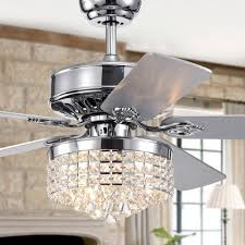 Warehouse Of Tiffany 52 Laure Crystal 6 Light Ceiling Fan Letta 52 Inch 5 Blade Chrome Lighted Ceiling Fans With