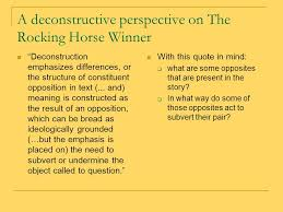 the rocking horse winner ppt video online  a deconstructive perspective on the rocking horse winner