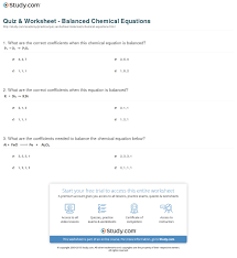 print balanced chemical equation definition examples worksheet