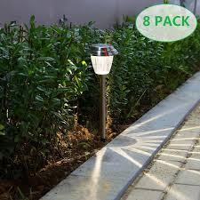 Solar Led Landscape Lights Details About Voona Solar Led Outdoor Lights 8 Pack Stainless Steel Pathway Landscape Lights