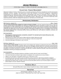Debt Collector Resume Sample Professional Finance Management Or With