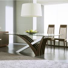 Furniture. curvy brown and white dining table base and rectangle  transparent glass top combined by