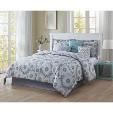 splendid 7 piece blue grey white black gold king reversible comforter