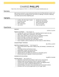 resume example for free resume best entry level mechanic resume example free