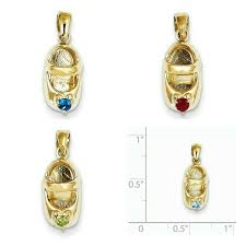beautiful handcrafted solid 14 karat yellow gold 3 dimensional birthstone baby shoe charm pendant