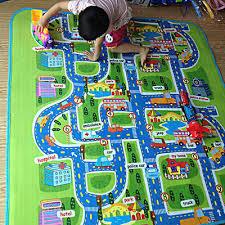 children s road map kids play mat race car rug runner nursery home 130x160cm new