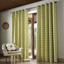 orla kiely linear stem olive fully lined eyelet curtains dove mill