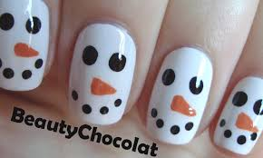 Quick and Easy Christmas Snowman Nail Art - Christmas Nails - YouTube