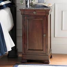 Mahogany Wood Tall Skinny Nightstand With 1 Drawer And 1 Door Plus Marble  Top For Charming Bedroom Design