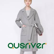 details about premium winter wool blend women s trench grey long thick warm overcoat new