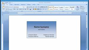 make business card in word microsoft word making and printing business card 1 2 youtube