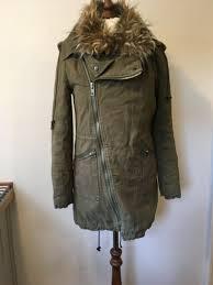 womens soulcal co khaki parker coat jacket faux fur collar uk 8 vgc
