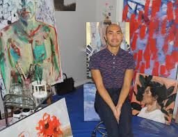 colour connoisseur melbourne artist will sit in his new home studio in mount isa