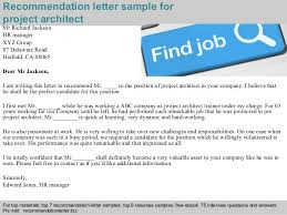 reference letter examples for a job project architect recommendation letter