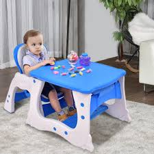 Goplus 3 in 1 Baby High Chair Convertible Play Table Seat Booster Toddler Feeding Tray