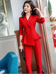 Summer Coat Design Us 47 24 25 Off 2019 Spring Summer Fashion Red Uniform Designs Pantsuits With Jackets And Pants Ladies Ol Styles Blazers Women Trousers Sets In Pant