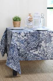 french riviera blue acrylic coated french provence round rectangle tablecloth french oilcloth indoor outdoor table decor water stain resistant wipeable