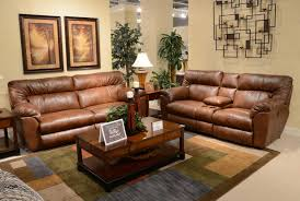 catnapper nolan leather extra wide reclining sofa set chestnut